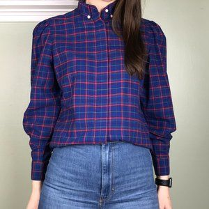 Vintage Jordache Blue Plaid Button Up Blouse